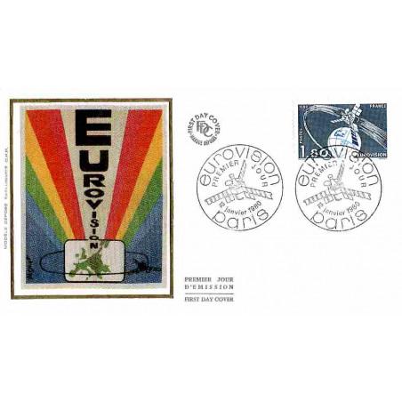 FDC soie - L'Eurovision - 12/1/1980 Paris