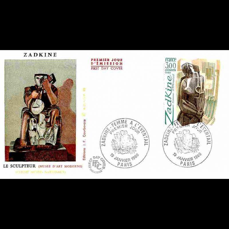 FDC JF - Zadkine - La femme à l'éventail - 19/1/1980 Paris