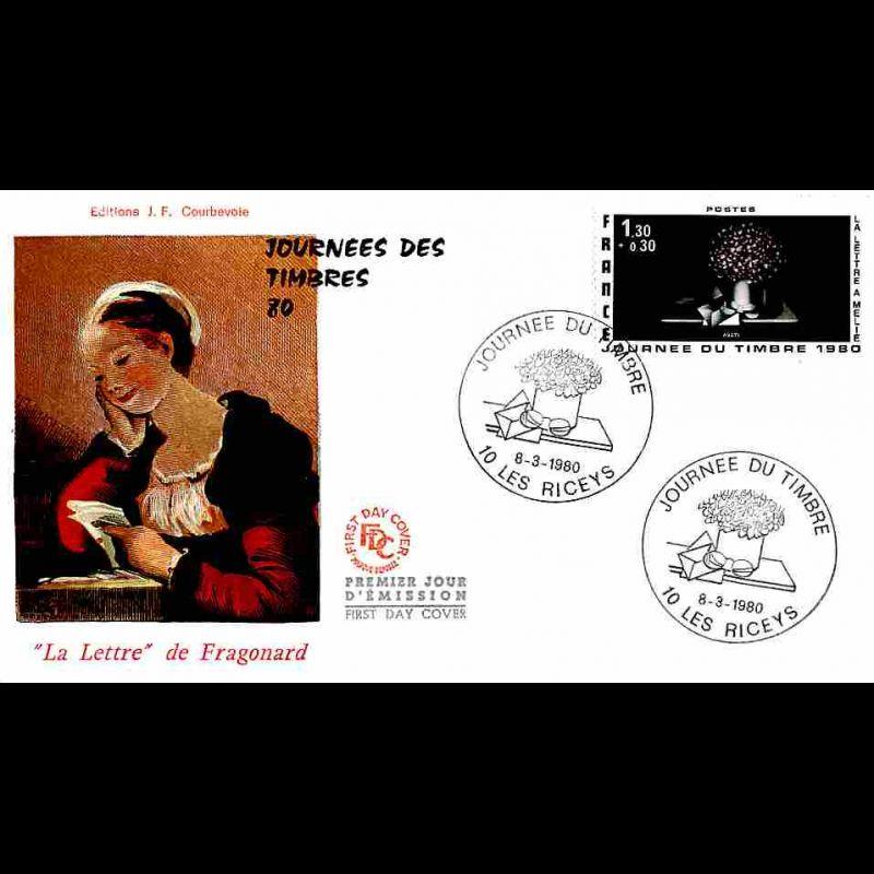 FDC JF - Journée du Timbre 80 - 8/3/1980 Les Riceys