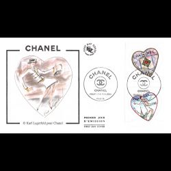 FDC soie - Coeurs Chanel -...